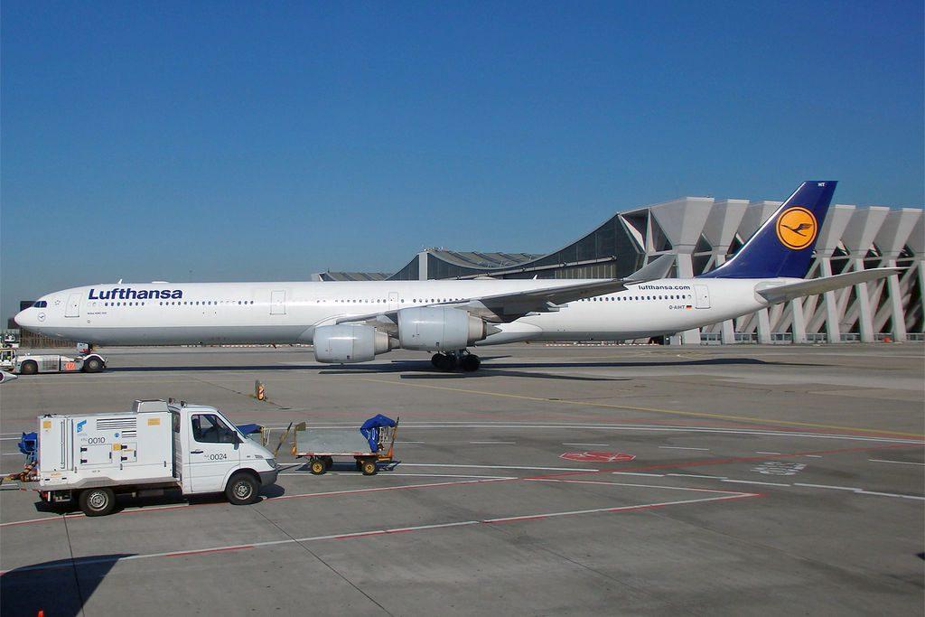 Lufthansa D AIHT Airbus A340 642 at Frankfurt Airport