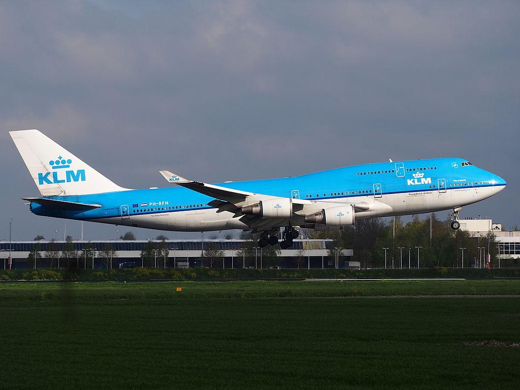 PH BFN KLM Royal Dutch Airlines Boeing 747 400 City of Nairobi landing at Amsterdam Schiphol