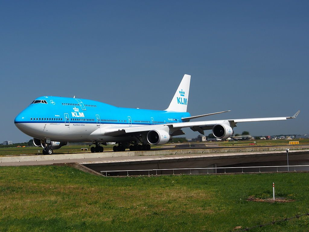 PH BFU KLM Royal Dutch Airlines Boeing 747 406M City of Beijing taxiing at Schiphol