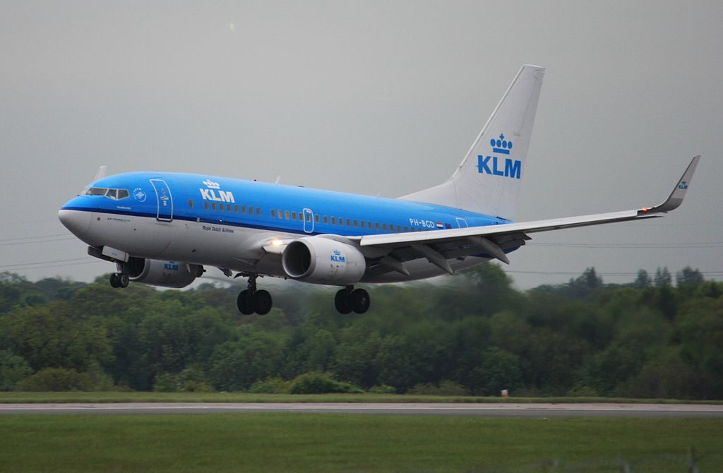 PH BGD KLM Royal Dutch Airlines Boeing 737 7K2 Goudhaantje Goldcrest landing at Manchester Airport