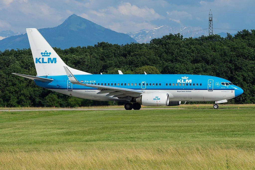 PH BGR Boeing 737 700 KLM Royal Dutch Airlines Zwarte Wouw Black Kite at Geneva International Airport