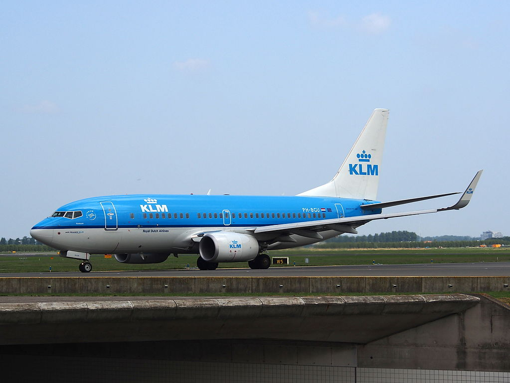 PH BGU KLM Royal Dutch Airlines Boeing 737 7K2WL Koekoek Cuckoo taxiing at Amsterdam Airport Schiphol