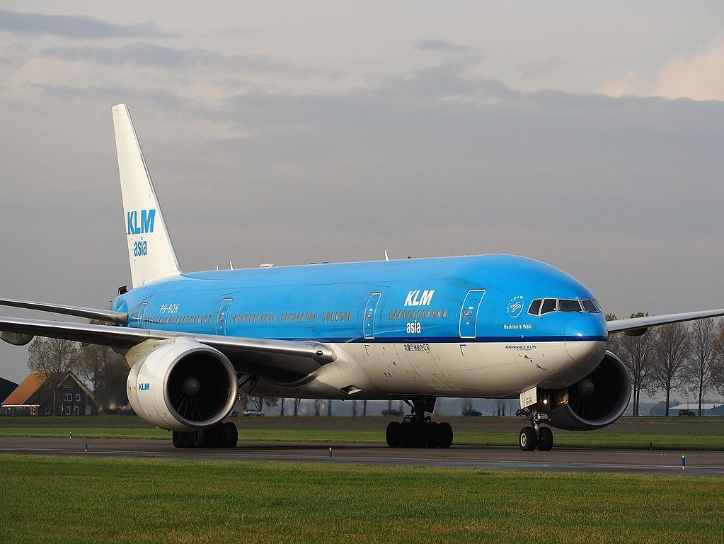 PH BQH Boeing 777 200ER KLM Hadrians Wall taxiing after landing on runway 18R at Schiphol