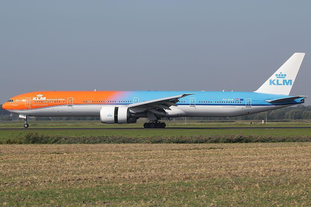 PH BVA KLM Royal Dutch Airlines 22Orange Pride22 special colours Boeing 777 300ER Nationaal Park De Hoge Veluwe