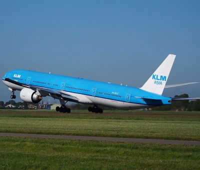 PH BVC KLM Royal Dutch Airlines Boeing 777 306ER Nationaal Park Sian Kaan takeoff from Schiphol