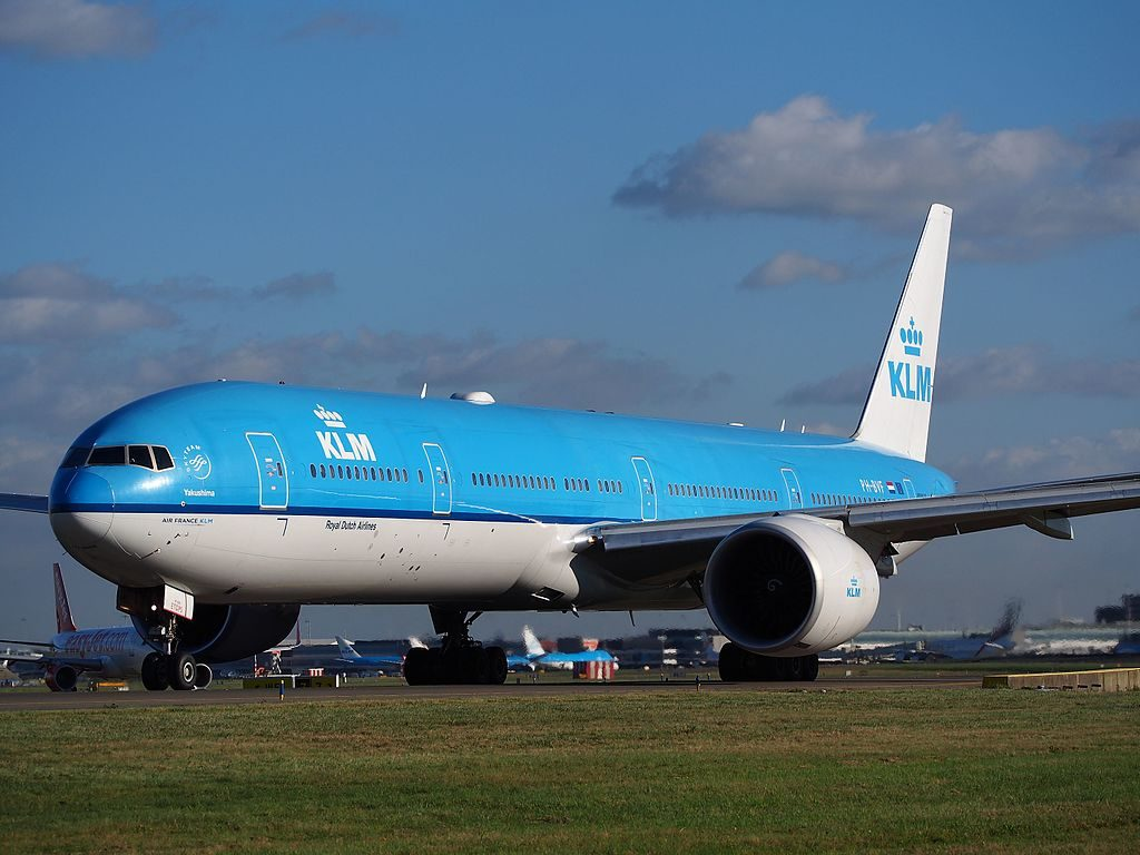 PH BVF KLM Boeing 777 300ER Yakushima taxiing at Schiphol towards runway 36L