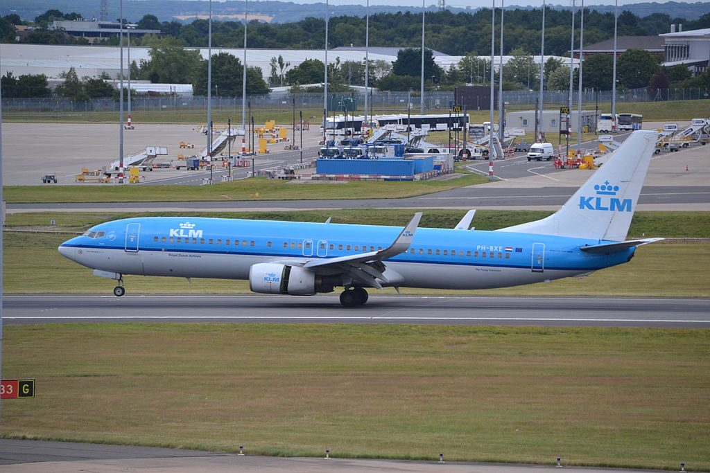 PH BXE Boeing 737 800 of KLM Royal Dutch Airlines Havik Hawk arriving rwy33 at Birmingham BHX