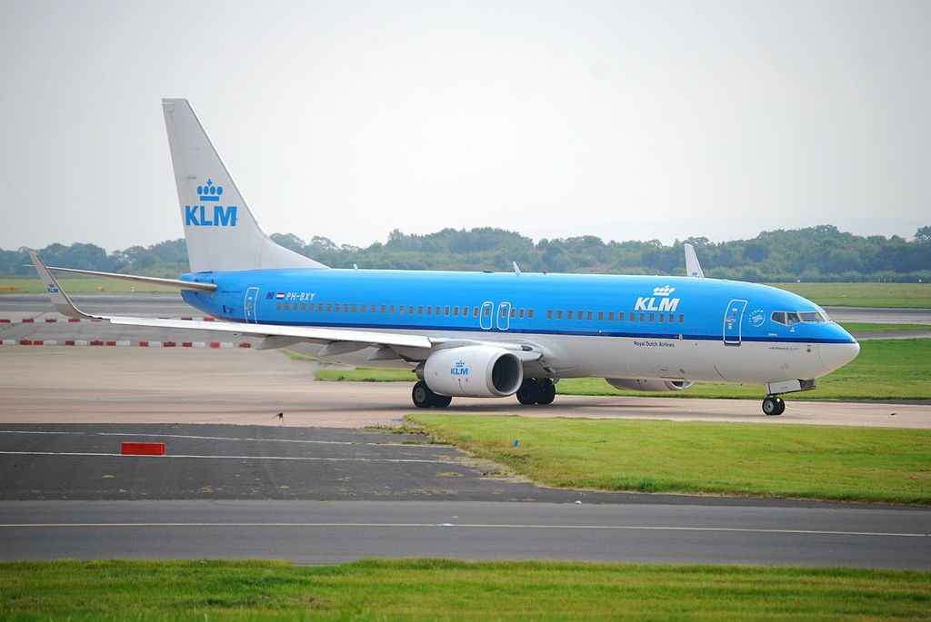 PH BXY KLM Royal Dutch Airlines Boeing 737 8K2WL Fuut Grebe at Manchester Airport