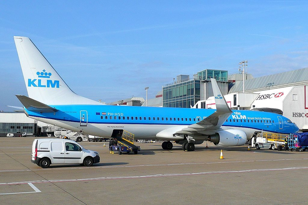 PH HSD Boeing 737 800 of KLM Groene Specht Green Woodpecker at London Heathrow Airport