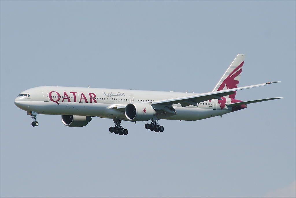 Qatar Airways Boeing 777 300ER A7 BAF at Frankfurt Airport FRA