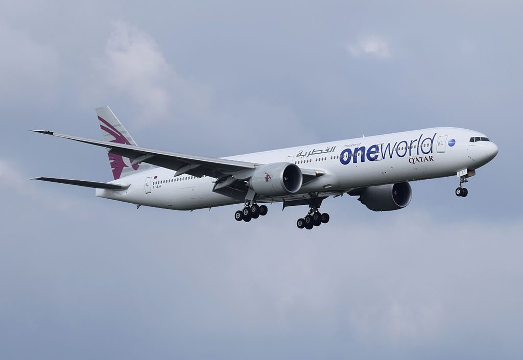 Qatar Airways Boeing 777 300ER A7 BAF oneworld livery arrives London Heathrow Airpor