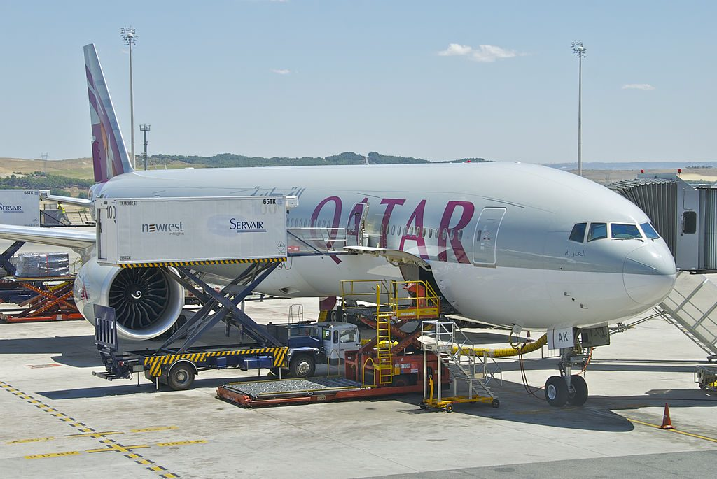 Qatar Airways Boeing 777 300ER A7 BAK at Madrid Barajas Airport MAD