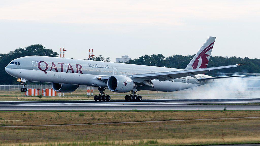 Qatar Airways Boeing 777 300ER A7 BAL landing at Frankfurt Airport