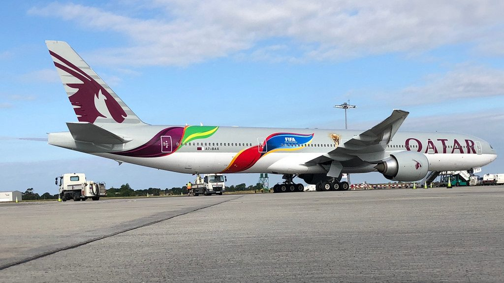 Qatar Airways Boeing 777 300ER A7 BAX 2022 FIFA World Cup Livery cs