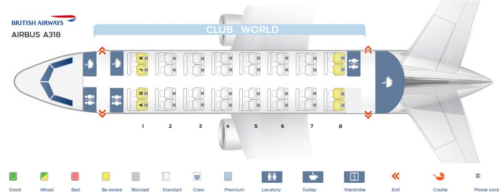 Seat Map and Seating Chart Airbus A318 100 British Airways