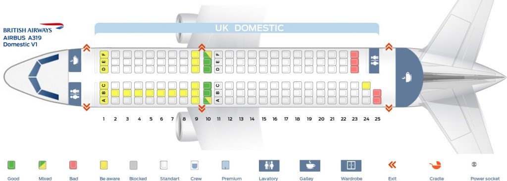 Seat Map and Seating Chart Airbus A319 100 Domestic V1 British Airways