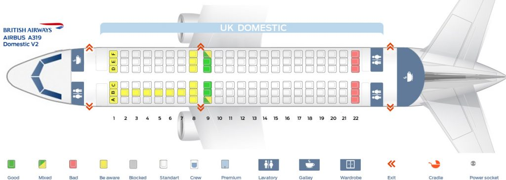 Seat Map and Seating Chart Airbus A319 100 Domestic V2 British Airways