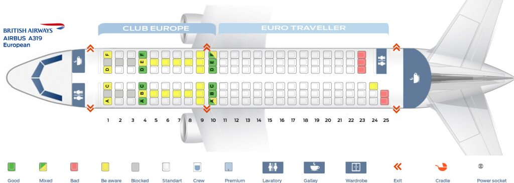 Seat Map and Seating Chart Airbus A319 100 European British Airways