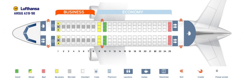 Seat Map and Seating Chart Airbus A319 100 Lufthansa