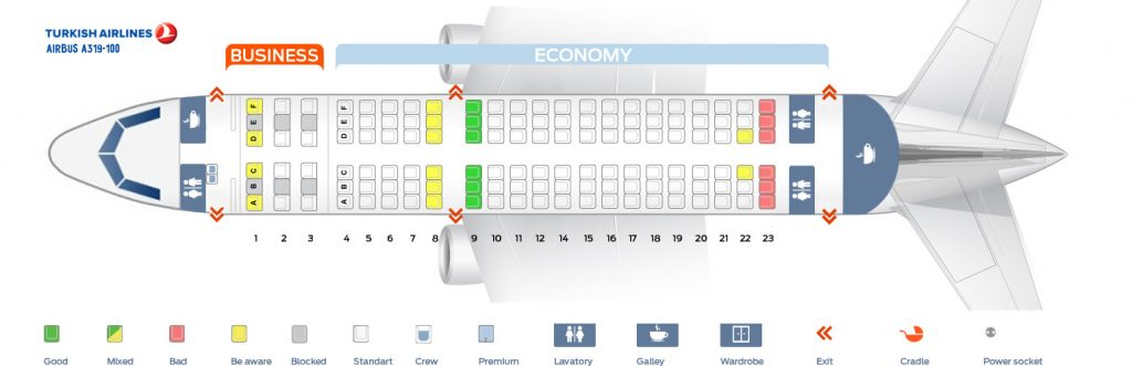 Seat Map and Seating Chart Airbus A319 100 Turkish Airlines