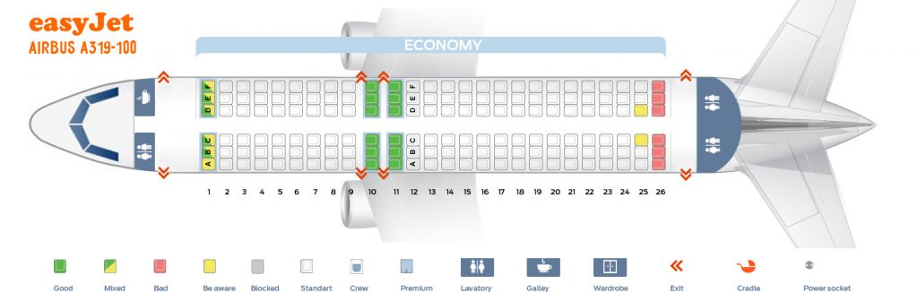 Seat Map and Seating Chart Airbus A319 100 easyJet
