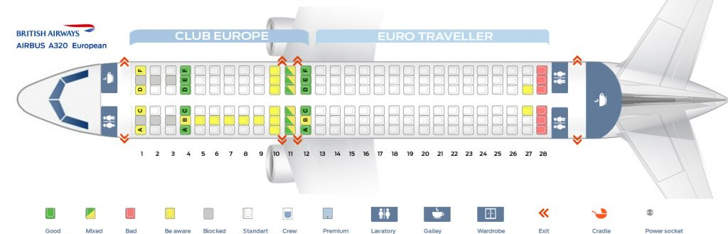 Seat Map and Seating Chart Airbus A320 200 European British Airways