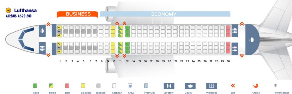 Seat Map and Seating Chart Airbus A320 200 Lufthansa