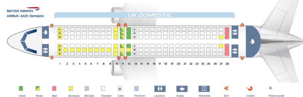 Seat Map and Seating Chart Airbus A320 200 UK Domestic V1 British Airways