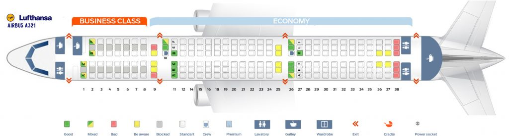 Seat Map and Seating Chart Airbus A321 100 Lufthansa