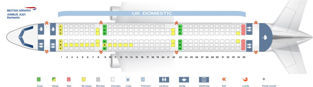 Seat Map and Seating Chart Airbus A321 200 Domestic British Airways
