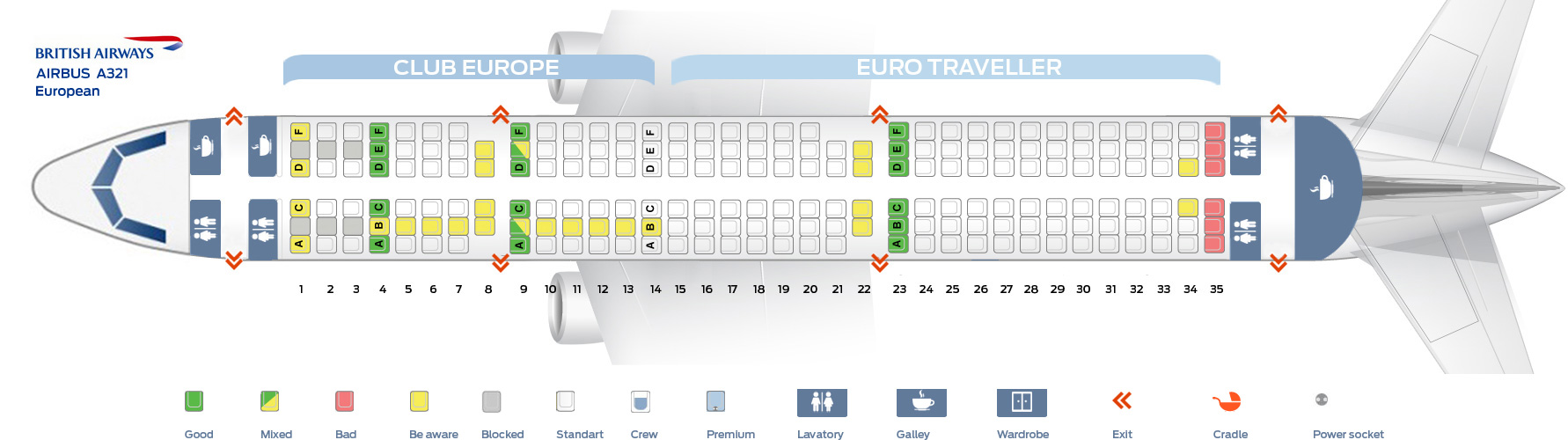Seat Map And Seating Chart Airbus A321 200 European British Airways