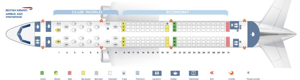 Seat Map and Seating Chart Airbus A321 200 International British Airways