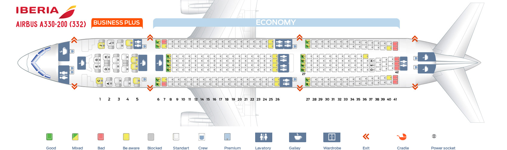 Seat Map And Seating Chart Airbus A330 200 Iberia