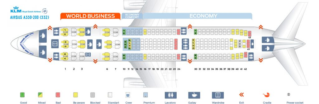 Seat Map and Seating Chart Airbus A330 200 KLM Royal Ducth Airlines