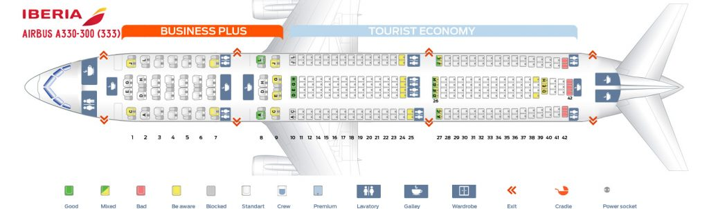 Seat Map and Seating Chart Airbus A330 300 Iberia