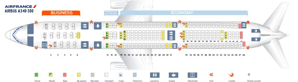 Seat Map and Seating Chart Airbus A340 300 Air France