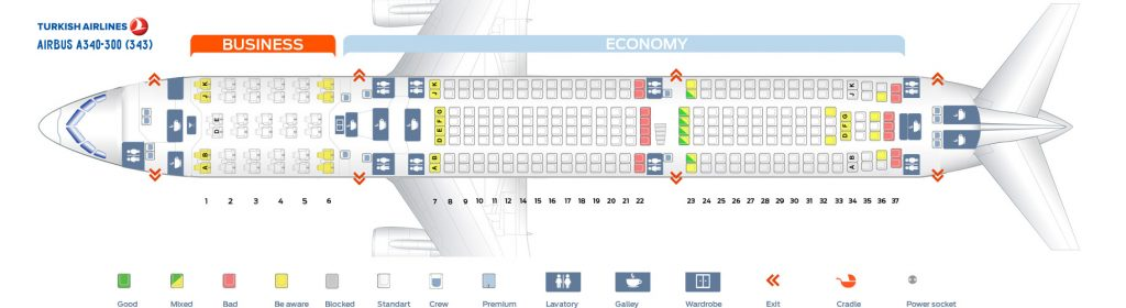 Seat Map and Seating Chart Airbus A340 300 Turkish Airlines