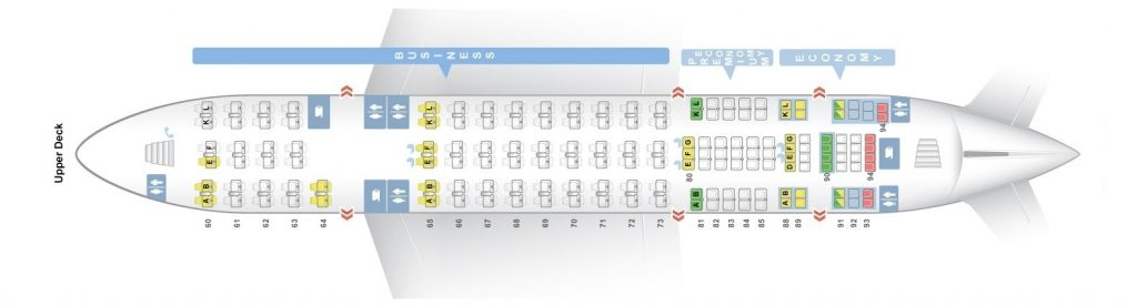 Seat Map and Seating Chart Airbus A380 800 Upper Deck Air France