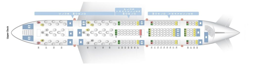 Seat Map and Seating Chart Airbus A380 800 Upper Deck British Airways