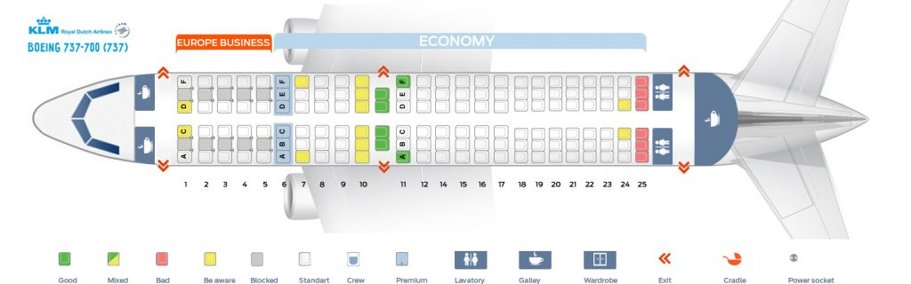 Seat Map and Seating Chart Boeing 737 700 KLM Royal Dutch Airlines