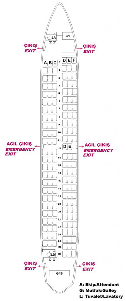 Seat Map and Seating Chart Boeing 737 700 Turkish Airlines