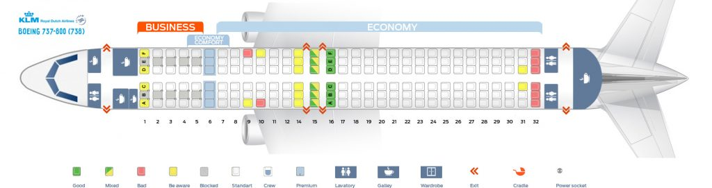 Seat Map and Seating Chart Boeing 737 800 KLM Royal Dutch Airlines