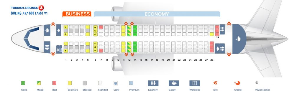 Seat Map and Seating Chart Boeing 737 800 V1 Turkish Airlines