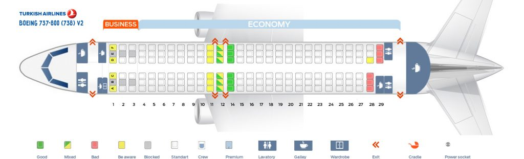 Seat Map and Seating Chart Boeing 737 800 V2 Turkish Airlines