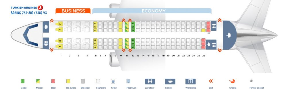 Seat Map and Seating Chart Boeing 737 800 V3 Turkish Airlines
