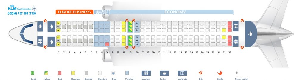 Seat Map and Seating Chart Boeing 737 900 KLM Royal Dutch Airlines