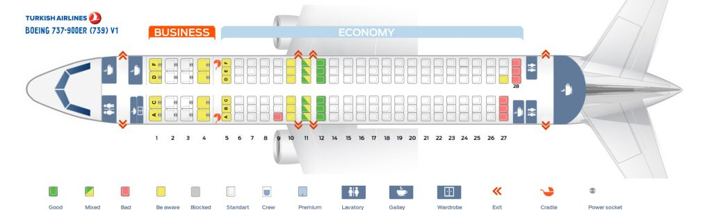 Seat Map and Seating Chart Boeing 737 900ER V1 Turkish Airlines