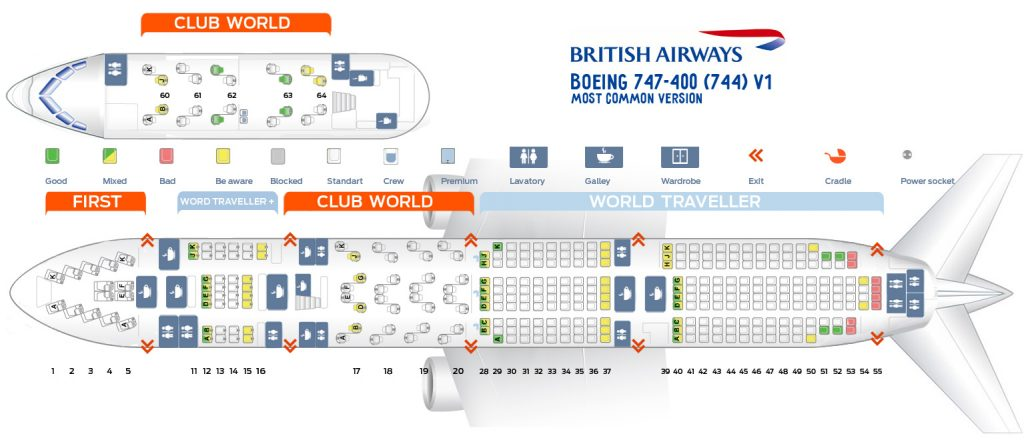 Seat Map and Seating Chart Boeing 747 400 V1 British Airways