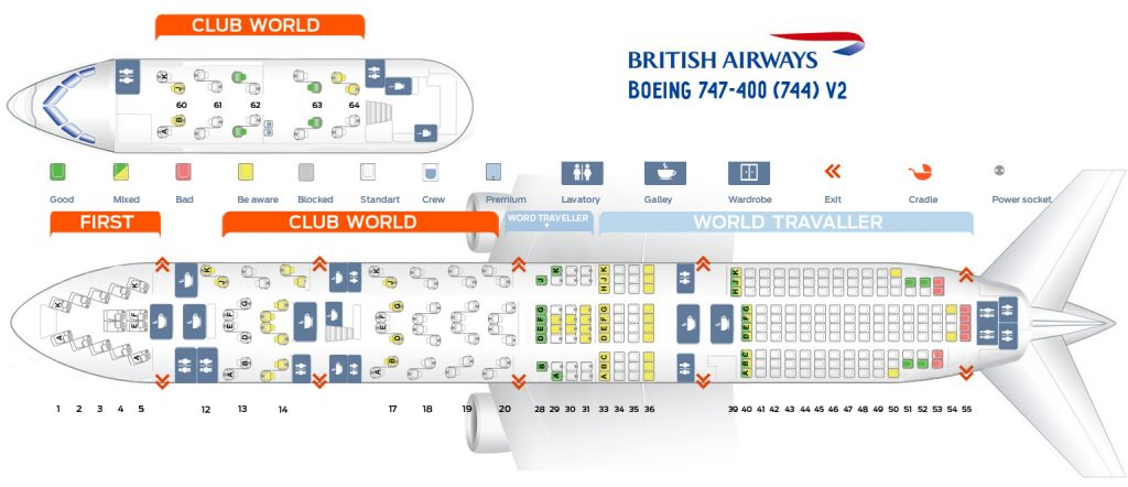 Seat Map and Seating Chart Boeing 747 400 V2 British Airways