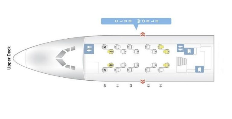 Seat Map and Seating Chart Boeing 747 400 V3 Upper Deck British Airways